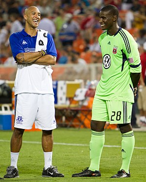 Bill Hamid - Hamid speaks with Everton F.C. and USMNT goalkeeper Tim Howard before a friendly match on July 23, 2011 at RFK Stadium