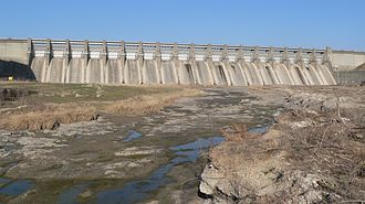 Harlan County Reservoir - Outlet structure of Harlan County Dam, seen from downstream