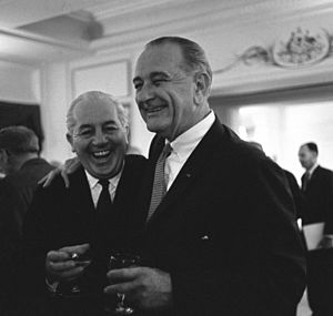 Harold Holt and Lyndon B. Johnson at reception