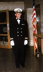 A color photograph of Milk in his Dinner Dress Blue Navy uniform