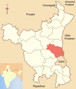 Location of Sonipat district in Haryana