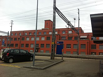 Muttenz - Image: Hauptdienstgebäude Rangierbahnhof Muttenz