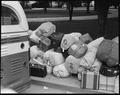 Hayward, California. Baggage of evacuees of Japanese ancestry stacked at public park as evacuation . . . - NARA - 537500.tif