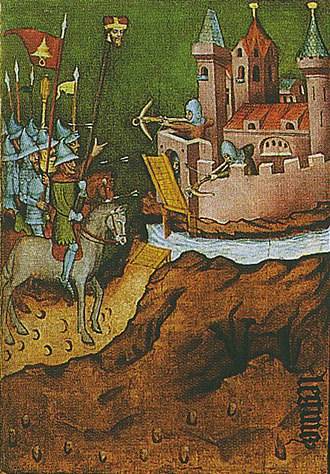 Battle of Legnica - A scene from an altar of St. Hedwig of Silesia: Mongol warriors display the head of Henry II of Silesia on a long lance in an attempt to weaken the morale of the defenders.