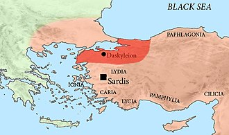 Phrygia - The location of Hellespontine Phrygia, and the provincial capital of Dascylium, in the Achaemenid Empire, c. 500 BC.
