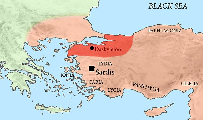 Location of Hellespontine Phrygia, and the provincial capital of Dascylium, in the Achaemenid Empire. Hellespontine Phrygia.jpg