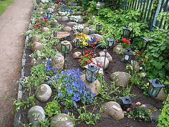Cremation allows for very economical use of cemetery space. Mini-gravestones in Helsinki. Helsinki-cemetery-mini-gravestones-1841.JPG