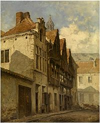 Hendrik Frans Schaefels - The Stoelstraatje and the tower of the Saint Paul's Church.jpg