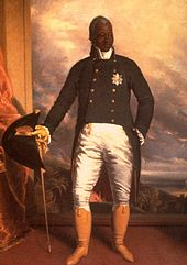 painting of a black man in noble clothing, holding a cane