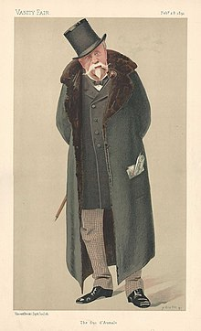 The duc d'Aumale in his final years, portrait by Jean Baptiste Guth in Vanity Fair, 1891 (Source: Wikimedia)
