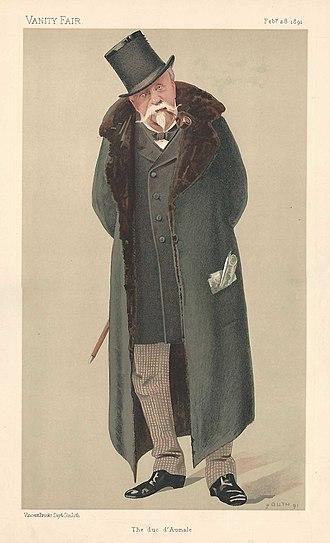 Henri d'Orléans, Duke of Aumale - The duc d'Aumale in his final years, portrait by Jean Baptiste Guth in Vanity Fair, 1891