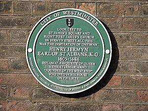 St James's - City of Westminster Green Plaque for Henry Jermyn, Earl of St Albans (1605-1684), located in Duke of York Street, London SW1