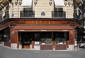 Hermès - Hermes Store at Avenue George V in Paris 8th arrondissement, France.