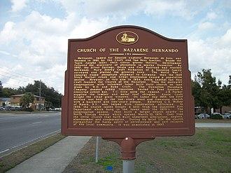 Hernando, Florida - Site of the former Hernando Church of the Nazarene along US 41
