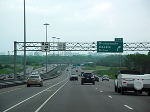 Ontario Highway 417 - Highway 417 in Ottawa near the Highway 416 interchange, showing an HOV lane in the eastbound carriageway