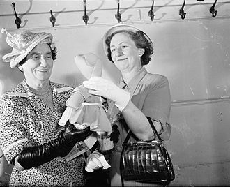 Plunket Society - MP Hilda Ross (left) and Mrs Gilmer, president of the Plunket Society, at the opening of the 1950 Karitane Fair, Wellington