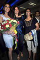 Himangini Singh Yadu with Sushmita Sen returns after winning Miss Asia Pacific World 2012 04.jpg