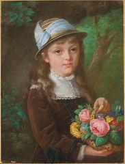 Portret dziewczynki z koszykiem kwiatów (Portret dziecięcy Marii z Pinków Bukowińskiej?)