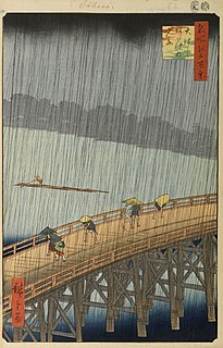 <i>Sudden Shower over Shin-Ōhashi bridge and Atake</i> 1857 woodblock print by Hiroshige