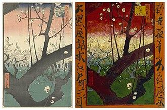 "Posthumous fame of Vincent van Gogh - Hiroshige's wood-cut ""Flowering Plumtrees at Kameido"" (1857) and Vincent van Gogh's oil version (1887)"