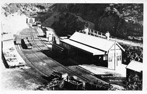 Walhalla railway line - Image: Historic photo of Walhalla railway station ~1910