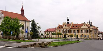 Hořovice - Town Hall and church of the Holy Trinity