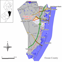 Map of Holiday City-Berkeley CDP in Ocean County. Inset: Location of Ocean County in New Jersey.