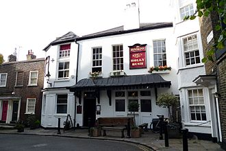Benskins Brewery - Some pubs in the Hertfordshire and north-west London area carried Benskins branding well into the 2000s. Shown is Benskins branding on the Holly Bush in Hampstead in 2009. It had been removed by 2015.