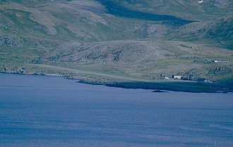 Honningsvåg Airport, Valan - Aerial view of the airport in 2000
