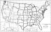 Map of United States with networks of triangles running roughly north-south and east-west across country; empty spaces several hundred miles wide in between