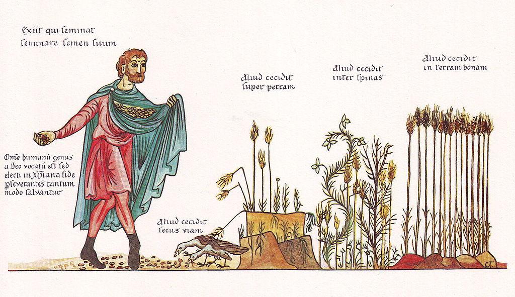 Hortus deliciarum, de Gleichnis vom Sämann