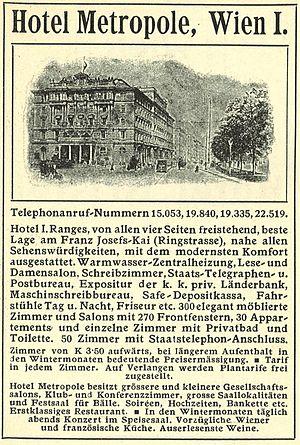 Hotel Metropole, Vienna - Advertisement of the hotel