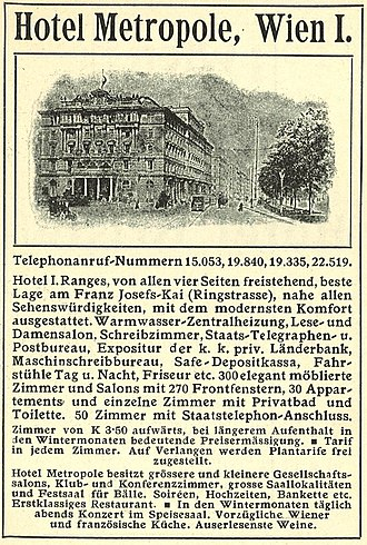 Hotel Metropole, Vienna - Advertisement of the hotel
