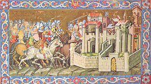 تصویری مغابله شده از محاصرهی یک شهر توسط هونها. سلاحهای به تصویر کشیده شده در این تصویر از نظر زمانی نادرستند و نمیتوانند سلاحهای هونها بوده باشند. عکس از تاریخچهی مصور مجارستان (Chronicon Pictum) به تاریخ ۱۳۶۰ م.