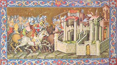 """A 14th century chivalric-romanticized painting of """"the huns"""" laying siege to a city. Note anachronistic details in weapons, armor and city type. Chronicon Pictum, 1360."""