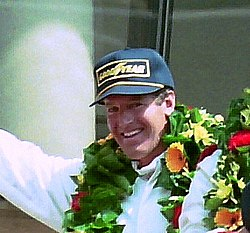 Hurley Haywood on the podium at the 1994 Le Mans (cropped).jpg