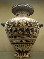 Gorgoneion, etruščanski prikaz na vazi, 6. stoljeće p.n.e., Vulci