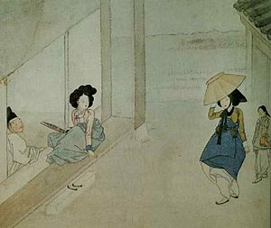Saenghwang - A gisaeng holding a saenghwang (far left). The painting is from the Hyewon pungsokdo (1805).