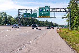 Interstate 440 (North Carolina) - I-440 sign gantry at exit 14