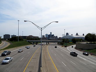 Interstate 75 in Michigan - Looking south along the Chrysler Freeway to the Detroit skyline