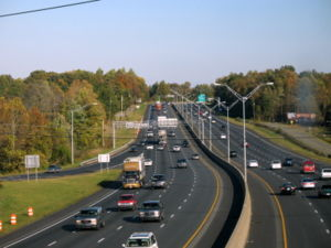 Alamance County, North Carolina - Interstates 85 and 40 run concurrently as seen from Exit 141 in Burlington, facing east.  The Interstates run east to west through the central part of the county.