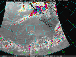 Pineapple Express - November 2006 satellite image showing clouds from near Hawaii to Washington, a Pineapple Express configuration