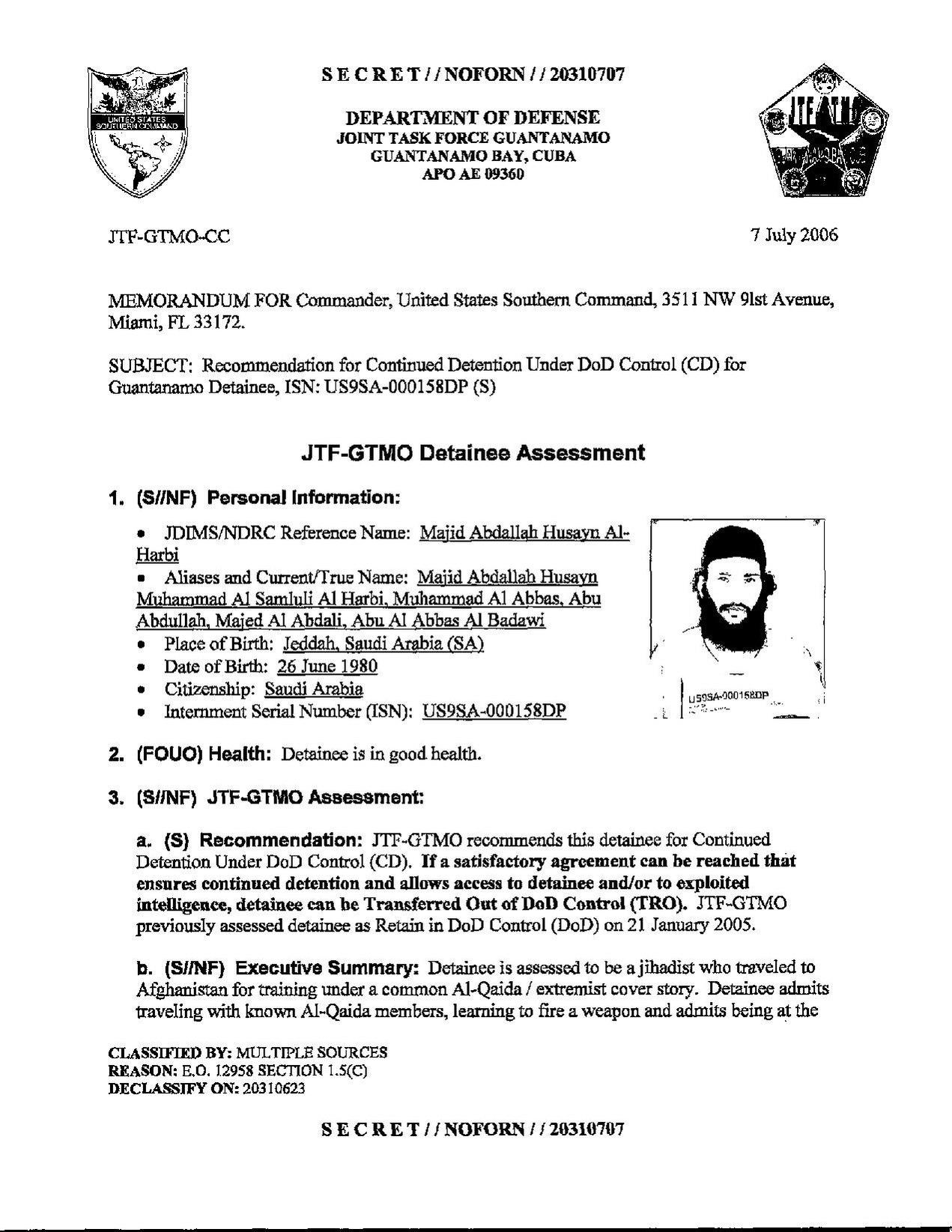 ISN 00158, Majid Abdatlah Husayn Al-Harbi's Guantanamo detainee assessment.pdf