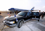 Image of Air Force One, Secret Service Agents and the Presidential Limousine