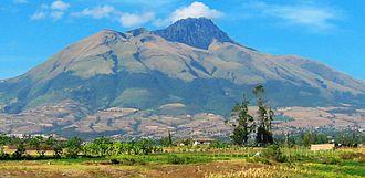 Imbabura Volcano - Imbabura, with sugarcane fields in the foreground.