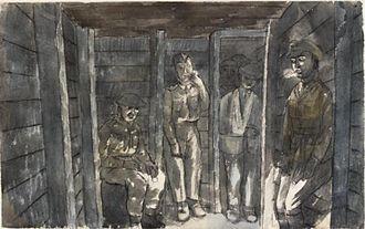 Edward Bawden - In an Air Raid Shelter, Dunkirk—Bombs are dropping. (IWM ART LD239)