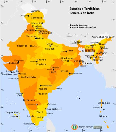 Mapa da Índia com a divisão em estados e territórios.