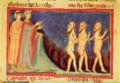 Inf. 20, Bottega di Pacino di Bonaguida, Dante e Virgilio incontrano la schiera degli Indovini, (XIV sec.).jpg