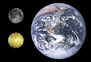 Io (moon) - Size comparison between Io (lower left), the Moon (upper left) and Earth
