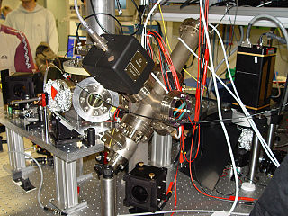 Ion trap combination of electric or magnetic fields used to capture charged particles